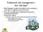 traditional risk management the old days