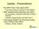 update presentations