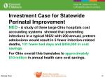 investment case for statewide perinatal improvement1