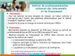 contrat de professionnalisation extension des intervenants et du financement
