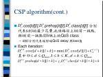 csp algorithm cont