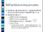rsp problem testing procedure