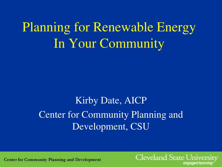 planning for renewable energy in your community n.