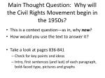 main thought question why will the civil rights movement begin in the 1950s
