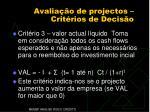 avalia o de projectos crit rios de decis o2