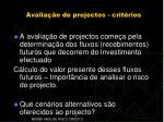 avalia o de projectos crit rios