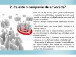 2 ce e s te o campanie de advocacy