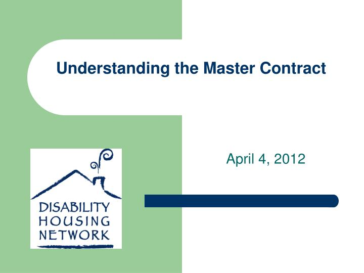 understanding the master contract n.