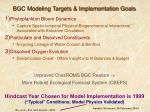 bgc modeling targets implementation goals