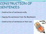 construction of sentences