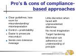 pro s cons of compliance based approaches