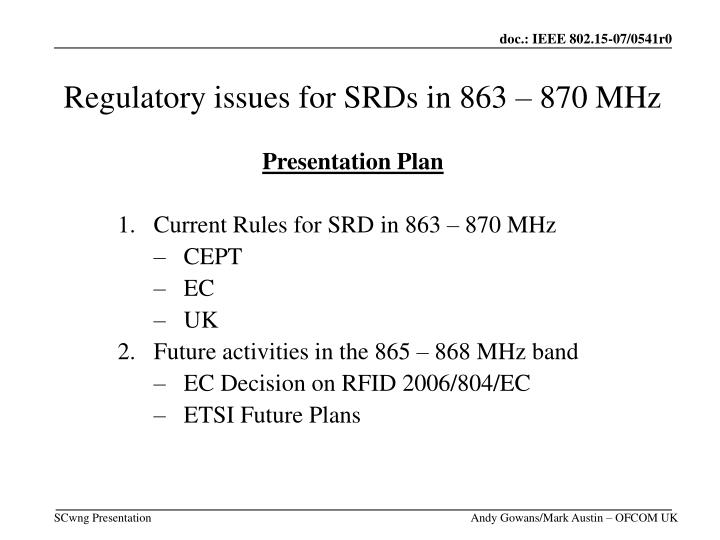 regulatory issues for srds in 863 870 mhz n.