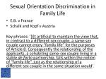 sexual orientation discrimination in family life