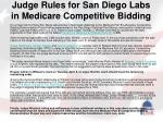 judge rules for san diego labs in medicare competitive bidding
