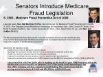 senators introduce medicare fraud legislation