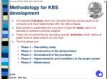 methodology for kbs development