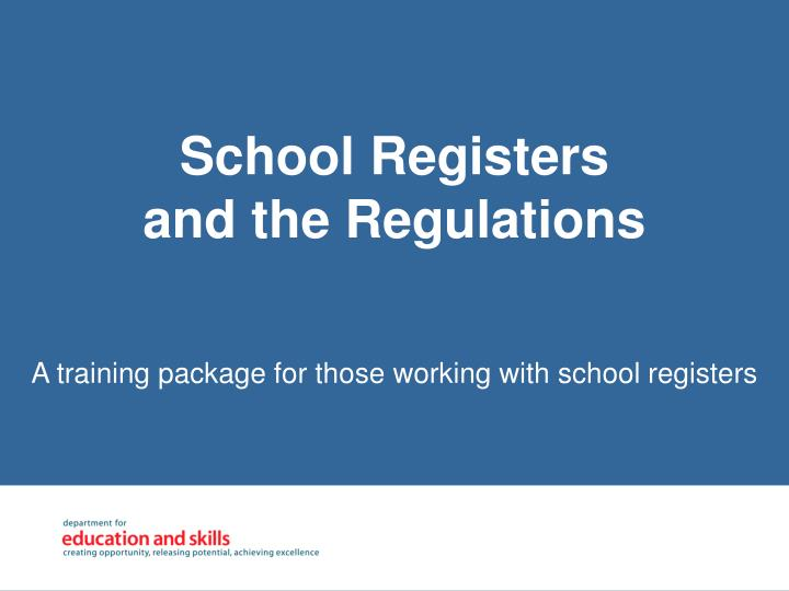 a training package for those working with school registers n.