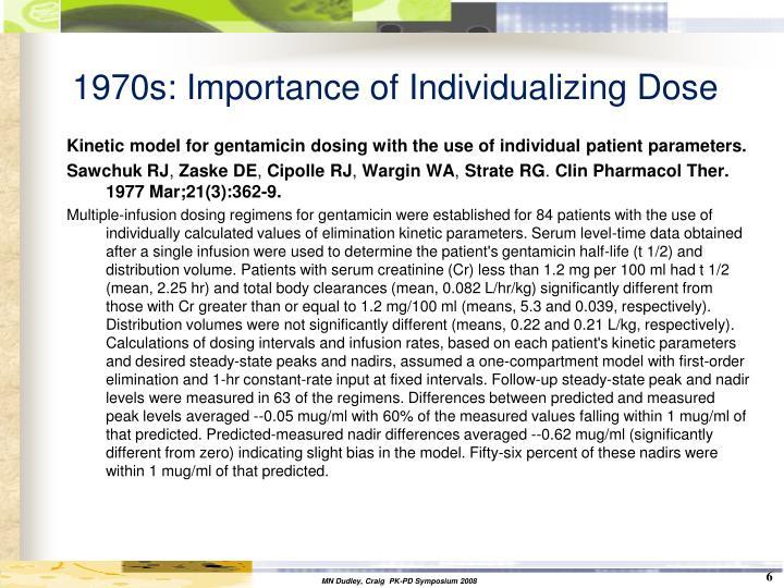 1970s: Importance of Individualizing Dose
