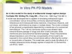 in vitro pk pd models