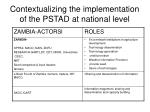contextualizing the implementation of the pstad at national level