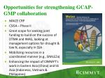 opportunities for strengthening gcap gmp collaboration