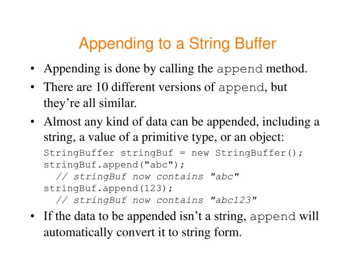 Appending to a String Buffer