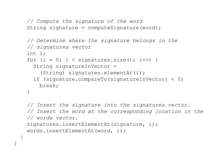 // Compute the signature of the word