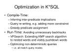 optimization in k sql