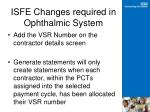 isfe changes required in ophthalmic system