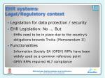 ehr systems legal regulatory context