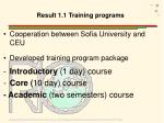 result 1 1 training programs
