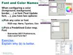font and color names