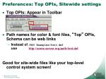 preferences top opis sitewide settings
