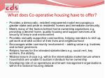 what does co operative housing have to offer