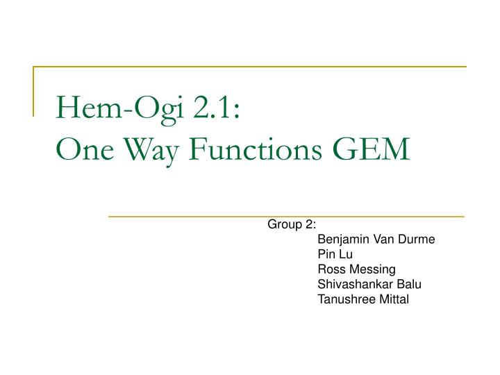 hem ogi 2 1 one way functions gem n.