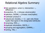 relational algebra summary