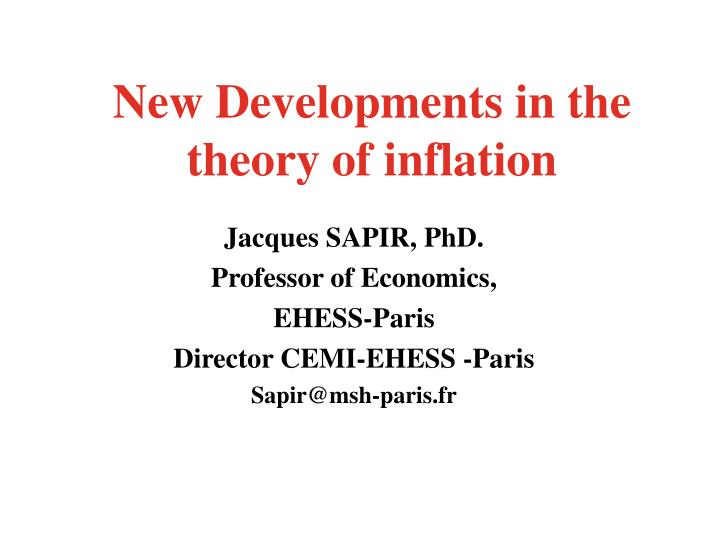 new developments in the theory of inflation n.
