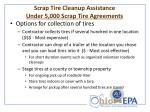 scrap tire cleanup assistance under 5 000 scrap tire agreements1