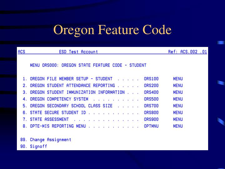 oregon feature code n.