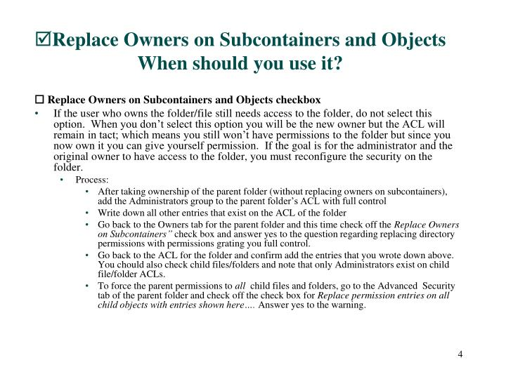 Replace Owners on Subcontainers and Objects