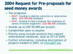 2004 request for pre proposals for seed money awards
