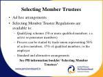 selecting member trustees