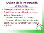 an lisis de la informaci n disponible