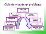 ciclo de vida de un problema
