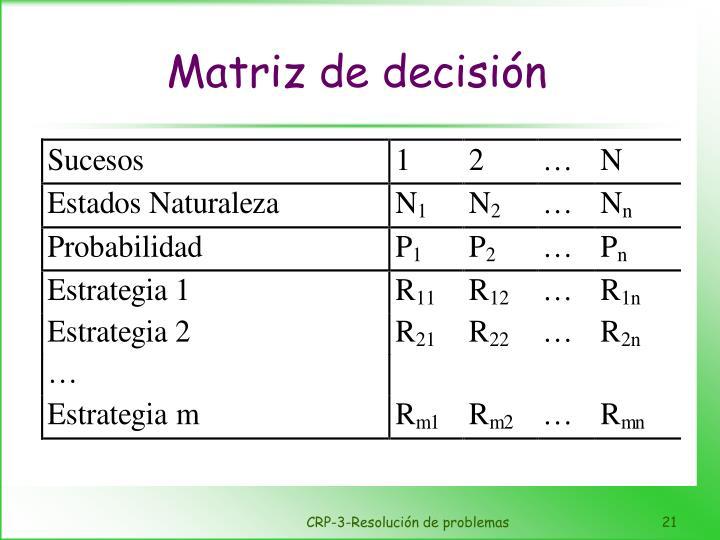 Matriz de decisión