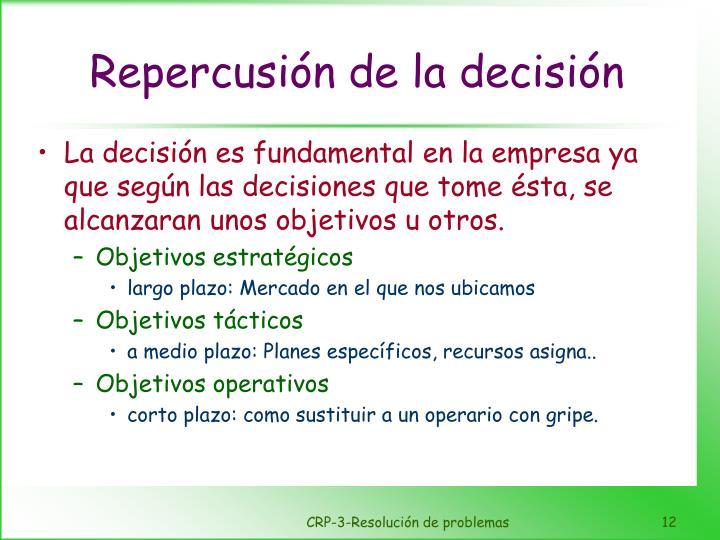 Repercusión de la decisión