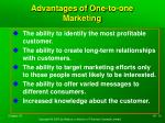 advantages of one to one marketing