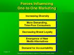 forces influencing one to one marketing