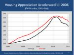 housing appreciation accelerated till 2006 fhfa index 1991 100