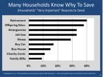 many households know why to save households very important reasons to save